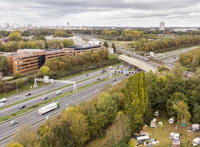 Luchtopname van de A27 bij Amelisweerd.