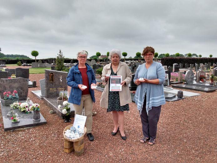 Galmaarden: Vergeet-me-nietjes-KEITJES-actie op de begraafplaats van Vollezele om laatste vaderdag te 'vieren'.