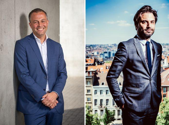 Les présidents des deux partis libéraux, Egbert Lachaert (Open Vld) et Georges-Louis Bouchez (MR).