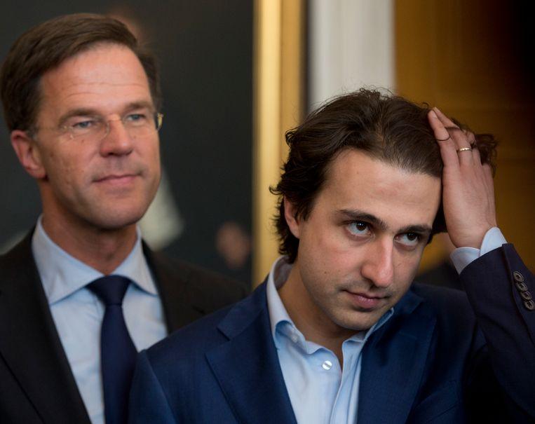 Premier Mark Rutte en GroenLinks-voorzitter Jesse Klaver. Beeld AP