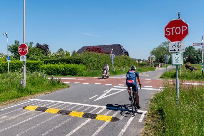 Bij de kruising Rijkerswoerdsestraat en het RijnWaalpad (de snelfietsroute tussen Arnhem en Nijmegen) zijn de drempels die recent geplaatst zijn alweer verdwenen. Hierboven een beeld van de situatie vóórdat de drempels werden gestolen.