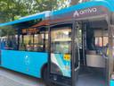 Arriva-bus met HVO-bestickering op de zijkant.
