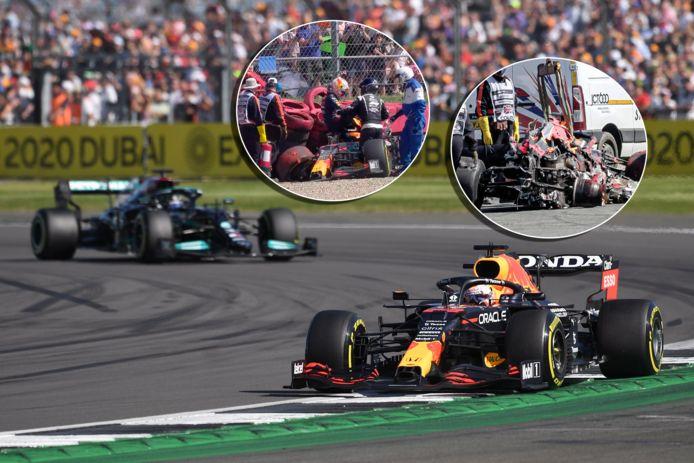 Max Verstappen en Lewis Hamilton. Inzetjes: de crash van Verstappen.