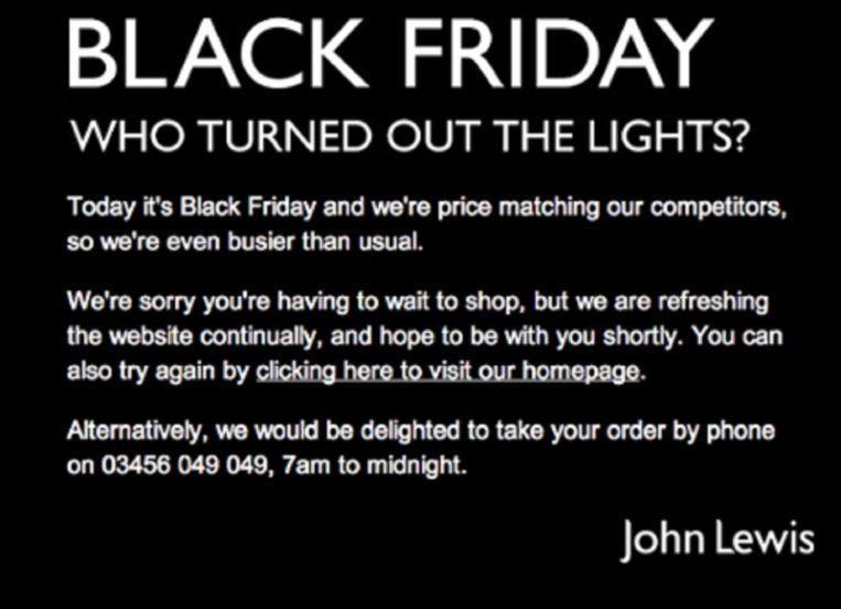 De onlineshop van John Lewis verontschuldigt zich voor hun gecrashte website. Beeld John Lewis