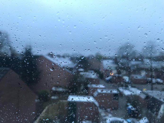 De ramen nat en de auto's besneeuwd in Zwolle (AA Landen) vanochtend om 7.00 uur.