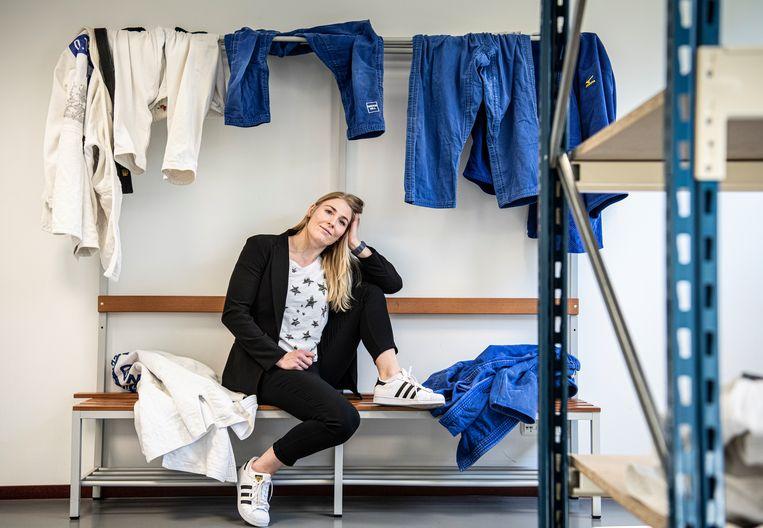 Kim Polling, hier in de kleedkamer op Papendal in 2019. Beeld Koen Verheijden