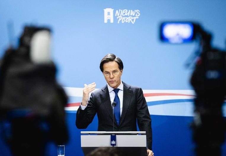 Premier Mark Rutte tijdens een persconferentie na afloop van de ministerraad. Beeld ANP