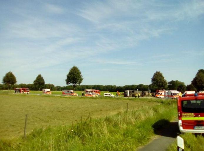 44 gewonden bij een busongeluk in Osnabrück.