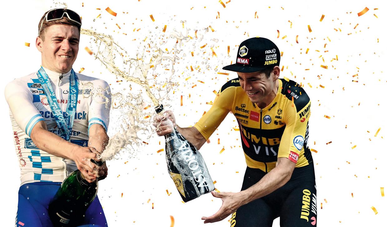 Remco Evenepoel en Wout van Aert mochten afgelopen weken al menig champagnefles ontkurken. Beeld Collage DM