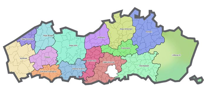 De 17 Vlaamse regio's.
