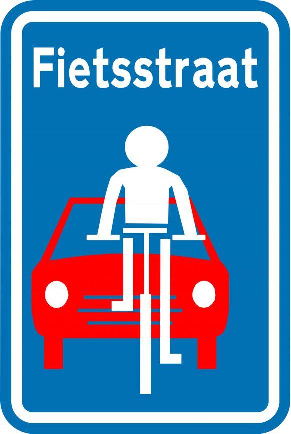 Dit bord komt aan weerszijden van de tunnel om aan te geven dat fietsers er alle voorrang krijgen.