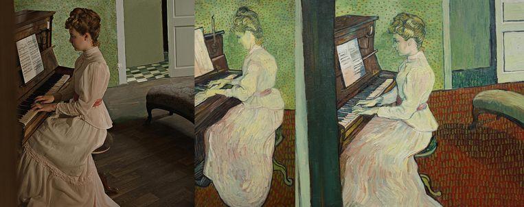 De bewerking van het schilderij Marguerite Gachet aan de piano. Beeld