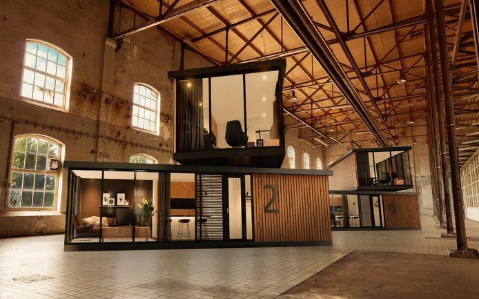 Een illustratie van hoe de woningen in een lege bedrijfshal eruit kunnen zien.