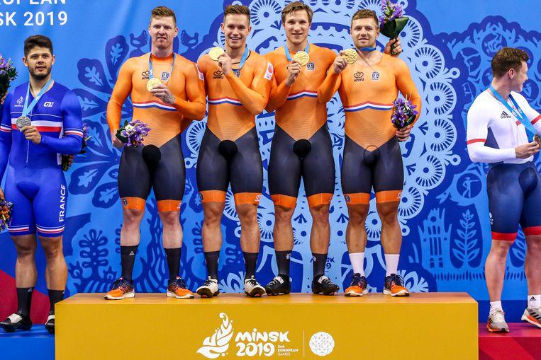 Baanwielrenners Nils van 't Hoenderdaal, Harrie Lavreysen, Jeffrey Hoogland en Roy van den Berg. Beeld BSR Agency