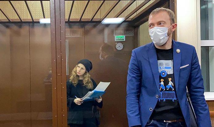 Activiste Maria Alyokhina (links), lid van Pussy Riot, werd eveneens opgepakt.