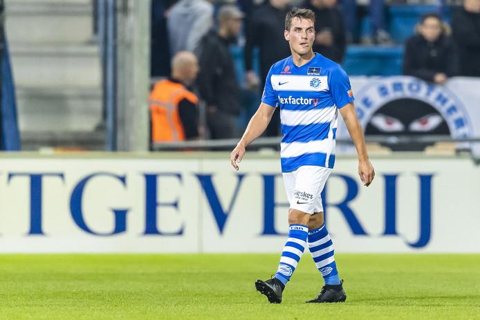 De Graafschap-middenvelder Erik Bakker incasseerde tegen SC Heerenveen een rode kaart.