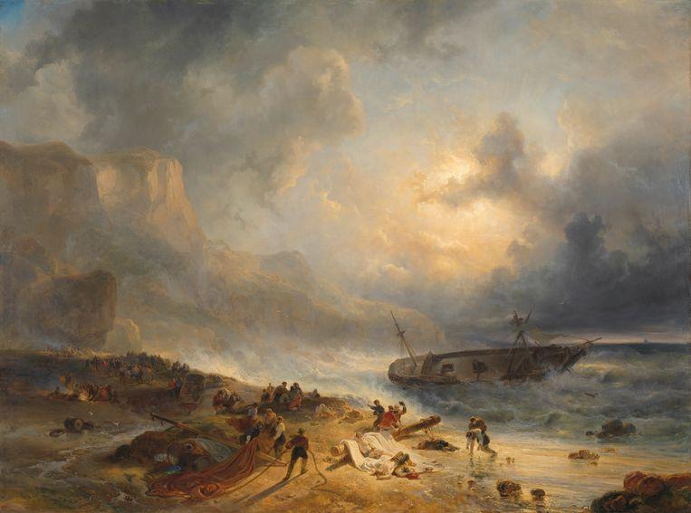 'Schipbreuk op een rotsachtige kust', Wijnand Nuijen, 1837. Foto: Rijksmuseum Amsterdam Beeld x
