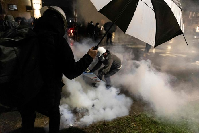 De politie zette traangas in.