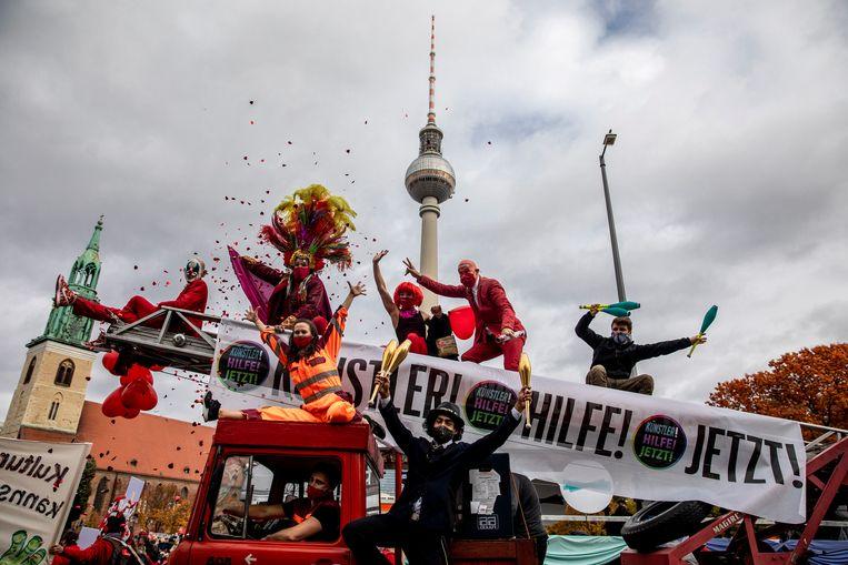 Artiesten en evenementenorganisatoren voeren actie voor meer overheidssteun.  Beeld Getty Images