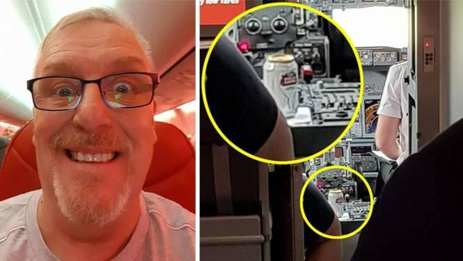 Passagier spot blikje Stella Artois in cockpit lowcostvlucht