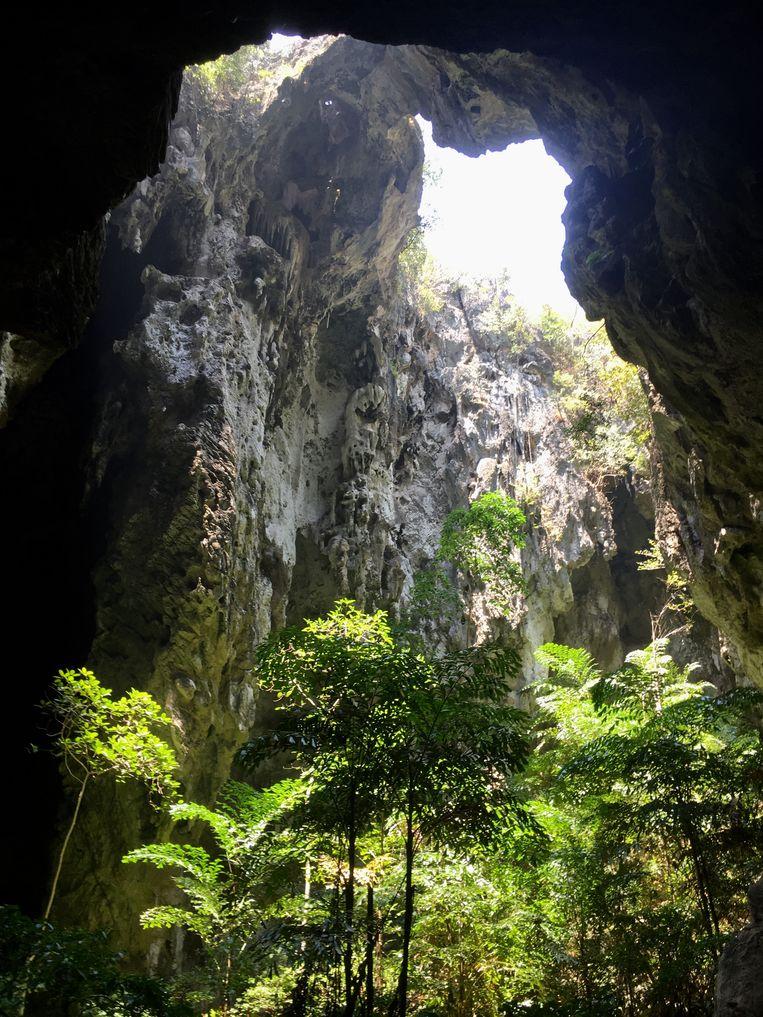 Een van de twee ingestorte grotten van Tham Phraya Nakhon. Beeld Liesbeth Vandepitte