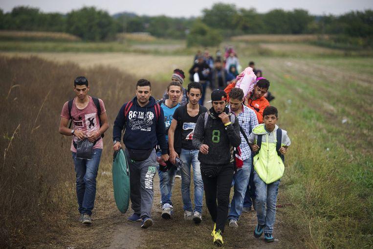 Vluchtelingen komen aan in de Kroatische grensplaats Tovarnik. Beeld epa