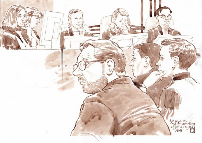 Rechtbanktekening van Sjonny W.