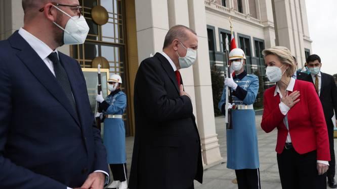 """Michel en Von der Leyen ontmoeten Erdogan: """"Samen verder op de ingeslagen weg, maar rechtsstaat moet gerespecteerd worden"""""""