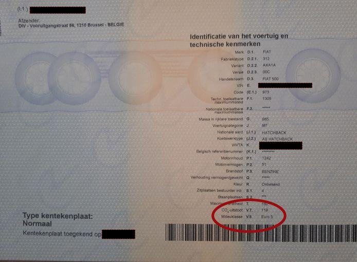 De Euronorm vind je op het inschrijvingsbewijs van je auto bij 'milieuklasse', in dit geval Euro 5.