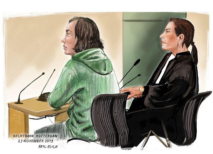 Rechtbanktekening van de verdachte Joël S., gemaakt tijdens een eerdere zitting in de rechtbank van Rotterdam.