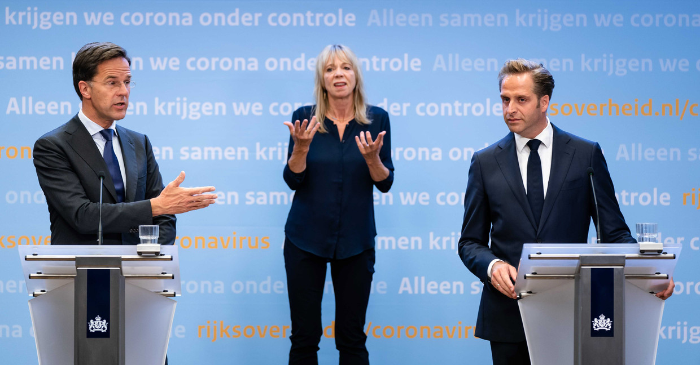 Na lange tijd is er donderdagavond weer een persconferentie van Rutte en De Jonge. Beeld ANP