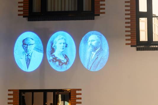 De drie portretten op de gevel van Mr. Van Coothstraat 1. Zonder hen was dit markante pand in Waalwijk er niet geweest.