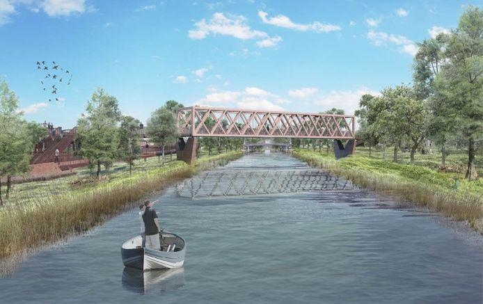 Een impressie van de brug over het Wilhelminakanaal in Oirschot, tussen Moorland en centrum. De brug wordt eind deze maand in gebruik genomen.
