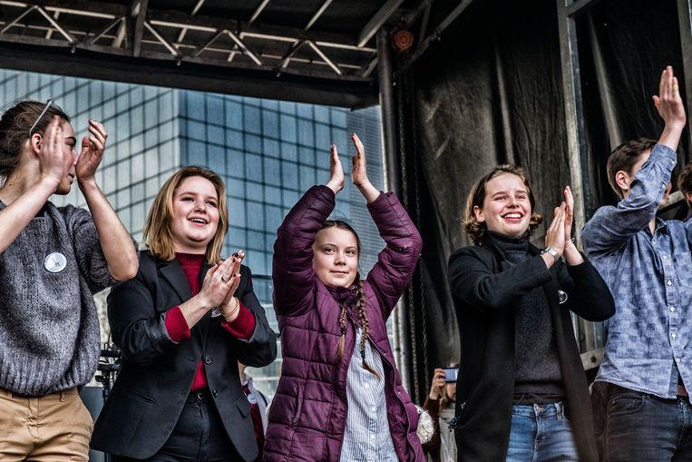 De Zweedse klimaatactiviste Greta Thunberg betoogde mee in Brussel. Beeld Tim Dirven