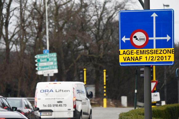 Beeld van de lage-emissiezone in Antwerpen.