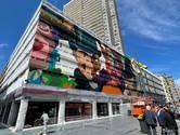 Maskers van Ensor verrijzen als streetart op Europacentrum in Oostende