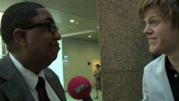 John Leerdam tijdens het interview met het 3FM radioprogramma GIEL. Beeld anp