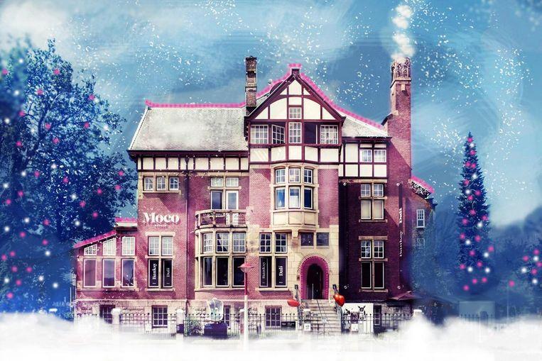 Helemaal vrij van kerstsferen is het Moco Museum niet. Beeld Jan Arsenovic
