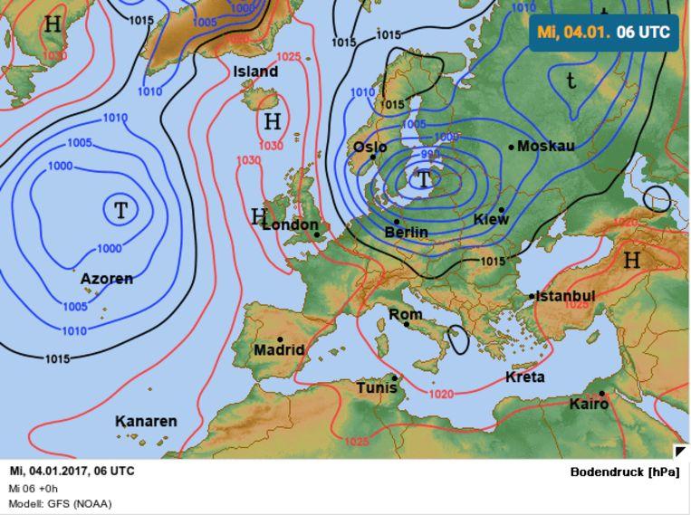 Storm Alex met positie boven de Oostzee. Beeld Wetteronline.de