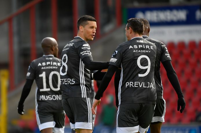 Eupen's Stef Peeters celebrates after scoring during a soccer match between SV Zulte Waregem and KAS Eupen, Monday 05 April 2021 in Waregem, on day 32 of the 'Jupiler Pro League' first division of the Belgian championship. BELGA PHOTO JOHN THYS