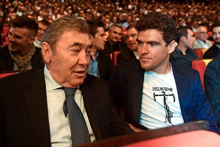 Greg Van Avermaet verkeerde in goed gezelschap: in gesprek met Eddy Merckx. Beeld Photo News
