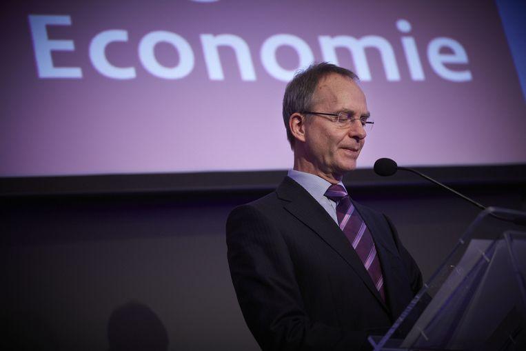 Minister van Economische Zaken Henk Kamp tijdens de bijeenkomst 'De staat van de economie', waar ondernemers, onderzoekers en economen samenkomen. Beeld anp