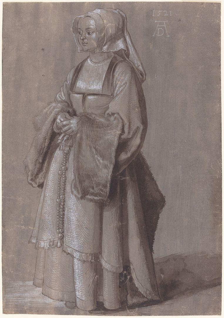 Albrecht Dürer, Portret van een vrouw in Nederlands kostuum, 1521.  Beeld National Gallery of Washington