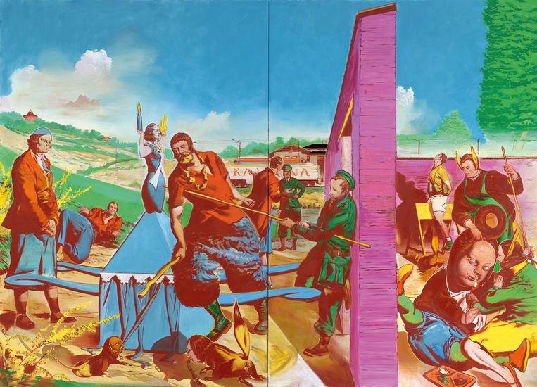 Het grootste doek dat naar de Fundatie gaat: 3 bij 4,2 meter. 'Die Kontrolle', 2010. Olieverf. Beeld rv