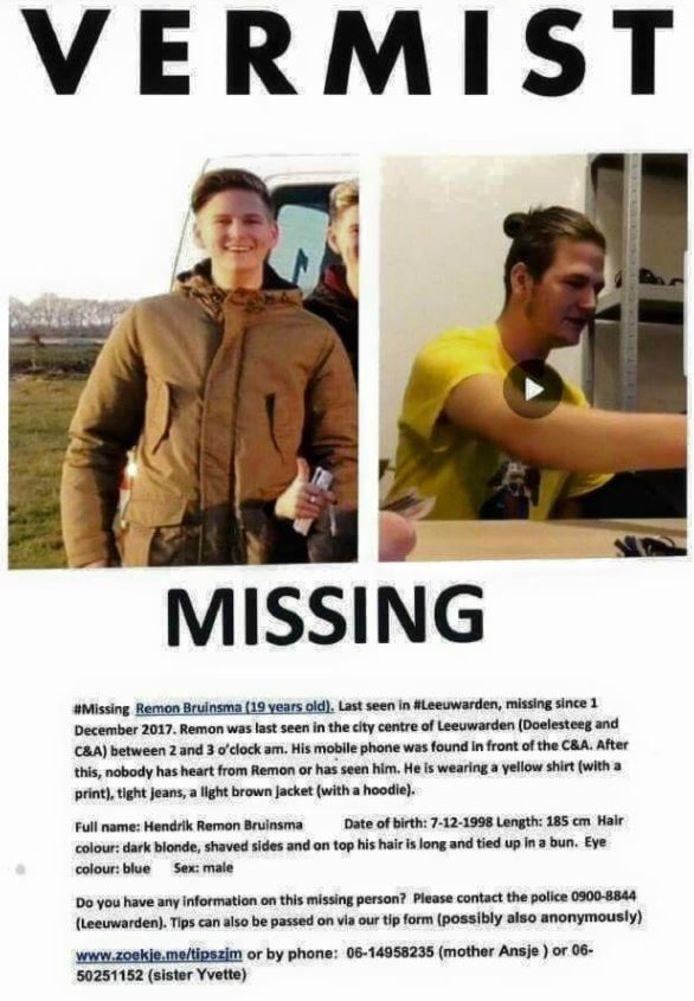 Remon Bruinsma verdween ruim drie weken geleden na een avondje stappen in Leeuwarden.