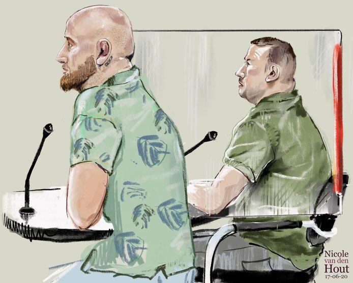 Twee verdachten in onderzoek 'Marcan' rond de doodgeschoten Henk Wolters. Links Harm W. (34) en rechts de zoon (31) van Henk Wolters.