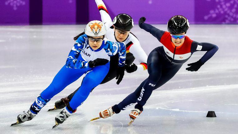 Yara ven Kerkhof kwalificeerde zich als enige Nederlandse vrouw voor de halve finale van de 500 m shorttrack Beeld ANP