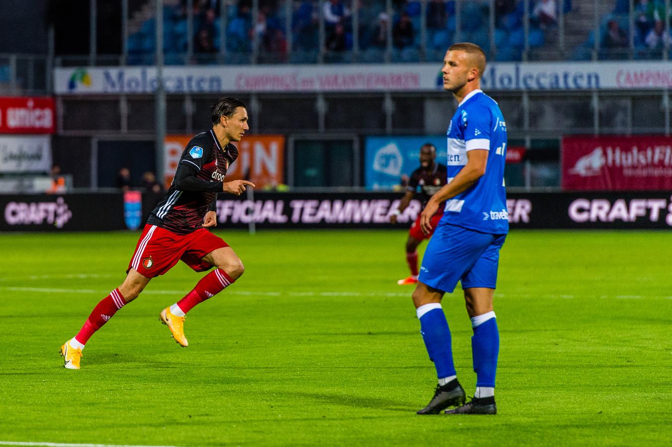 Steven Berghuis zette Feyenoord al vroeg op voorsprong in Zwolle.