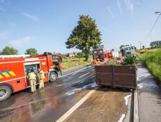 Edingsesteenweg tijdje afgesloten door brandende vrachtwagen