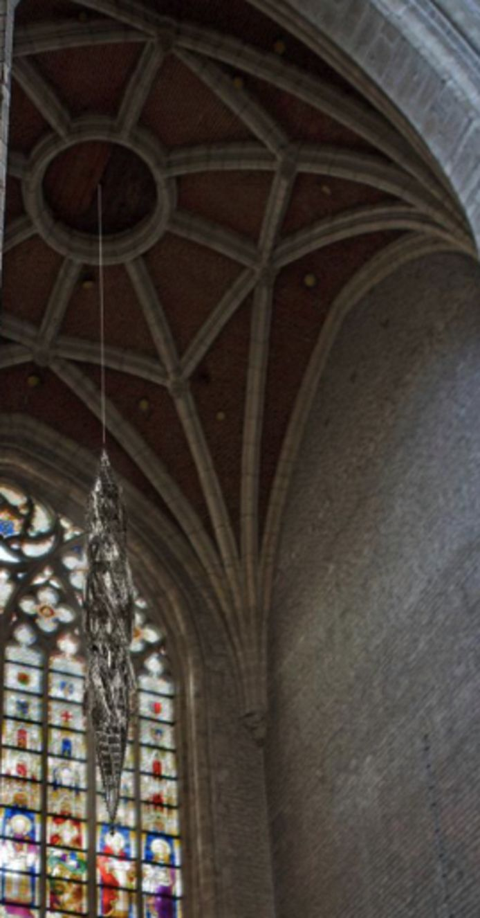 Een preview van het werk van Delvoye, zoals het in de kathedraal zou hangen